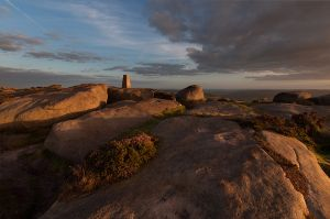 Stanage Trig Point in Evening Light