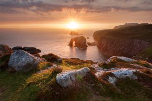 Land's End sunset, Cornwall, UK