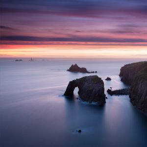 Twilight Home - Dusk at Land's End, Cornwall, UK